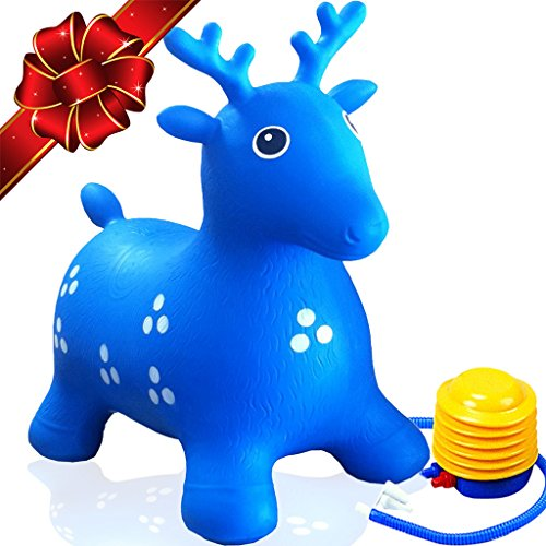 ToysOpoly Inflatable Deer Bouncer Seat - Bouncy Animal Hopper For Kids, Toddlers, Boys, Girls Age 1, 2, 3, 4. Fun Rubber Bouncing Jumping Hopping Riding Outdoor/Indoor. 1 Piece + Free Pump