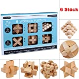Brain Teasers for Kids, 6PCS IQ Wooden Puzzle Set, Assembly Disentanglement Puzzles for Adult