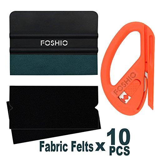 FOSHIO Automotive Vinyl Installations-Tool-Kit 3 In 1 Snitty-Sicherheits-Cutter mit Black Felt Squeegee und Micro-Faser Felt Edge für Film-Installation