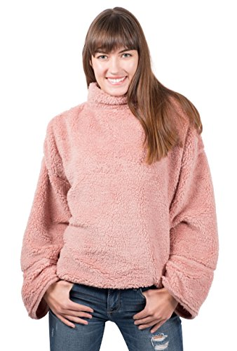 Brooklyn Cloth Damen Sherpa Fleece Sweatshirt Mock Rollkragenpullover, Rose, Small