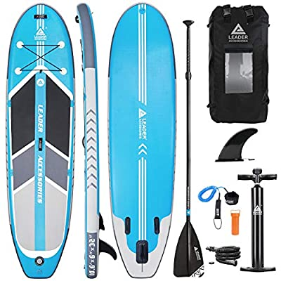 """Leader Accessories 10'6"""" Blue Inflatable Stand Up Board with Fins (6"""" Thick) Includes Adjustable Paddle,Kayak Leash,ISUP Backpack,Pump with Gauge"""