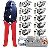 BNC Crimp Herramienta de herramienta Rotary Cable Cable Stripper...