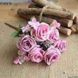 Llzpl 6 têtes/Bouquet de Fleurs artificielles Rose Rose Blanc Pivoine Fleur de Soie Mariage décoration de la Maison Pivoine Fleur Artificielle B