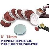 Discos de lija de grano 80-3000 de 75 mm, discos de lija de lija, juego de almohadillas de lija (paquete de 100)