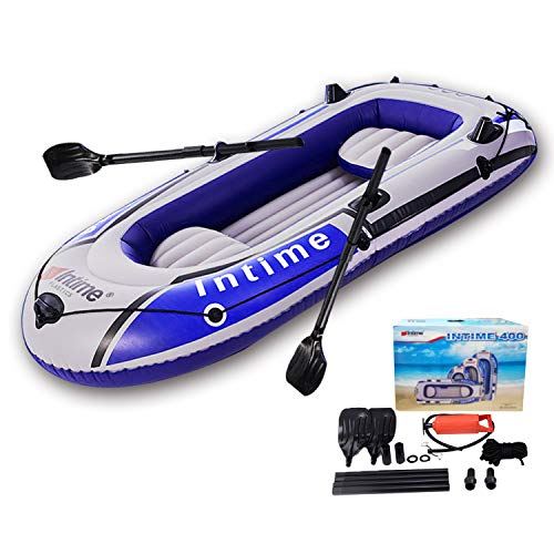 EPROSMIN 4 Person Inflatable Boat Canoe - 【Blue+Gray】 9FT Raft Inflatable Kayak with Air Pump Rope Paddle 【US in Stock】 2,3 or 4 Person Boat for Adults and Kids, Portable Fishing Boat