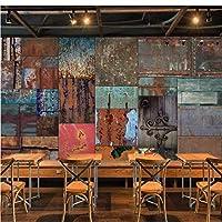写真の壁紙3D立体空間カスタム大規模な壁紙の壁紙 ヨーロッパの鉄板の壁の装飾リビングルームの寝室の壁紙の壁の壁画の壁紙テレビのソファの背景家の装飾壁画-200X140cm(78 x 55インチ)