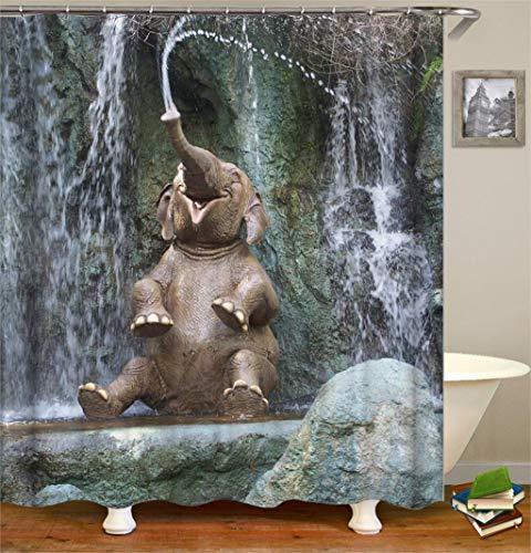 XCBN 3D gedrucktes Tierelefantenbild für Duschbad Badezimmerdekoration Duschvorhang ist wasserdicht & schimmelresistent A2 150x200cm