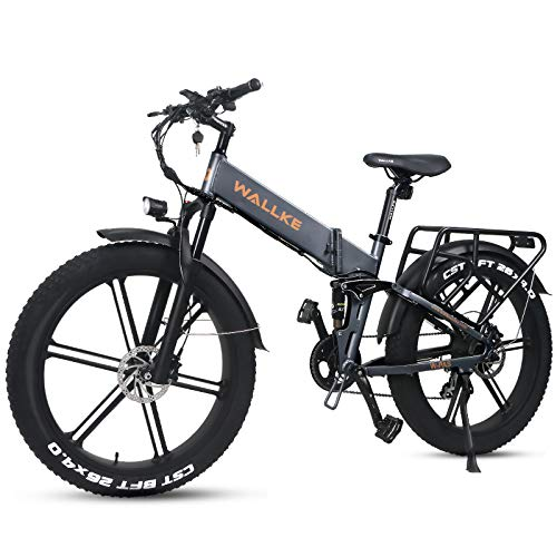 W Wallke 26 inch X2 Pro Electric Mountain Bike 750W Fat Tire Ebikes 48V Samsung Lithium Battery, Aluminum Alloy Frame Folding Electric Bicycle for Adult (Grey)