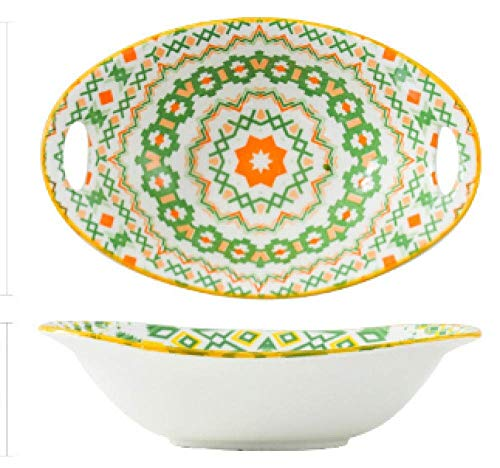 11 inch bakeware Ceramic Plate Bohemian Hand-Painted underglaze Color bakeware Cheese Baked Rice Plate-9 inch Ingot Bowl Orange And Green