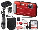 Panasonic Lumix DMC-TS30 Digital Camera (Red) (DMC-TS30R) with Accessory...