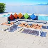 UnfadeMemory Juego de Sofás de Jardín Exterior,Muebles de Jardín Terraza Balcón o Patio,Aluminio y WPC (Tipo2,4 Piezas)