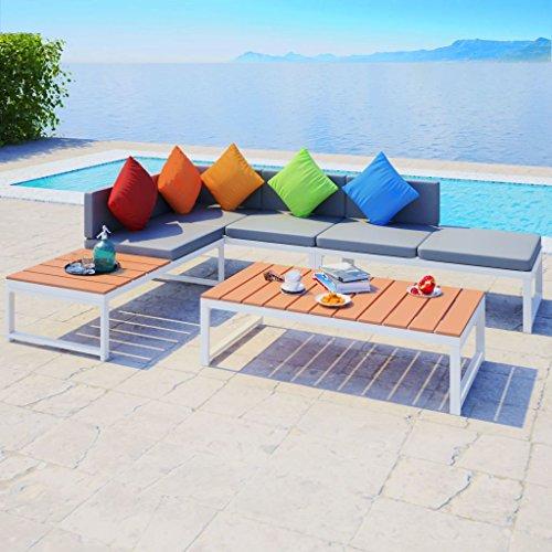 Furnituredeals Ensemble canapé d'angle de jardin 19 pièces en Aluminium WPC.Ce lot de haute qualité sont robuste et résistant.Idéal pour jardins et extérieur