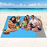 Coperta da Spiaggia Tappetino da Picnic - 210x200cm Portatile Anti Sabbia Impermeabile Stuoia Spiaggia con 4 Picchetti Fixed, Coperta Picnic per Picnic, Spiaggia, Escursionismo, Campeggio e Altro