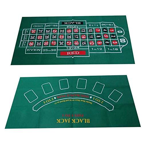 Doppelseitiger Craps-Tisch & Blackjack Casino Felt Convenient Kasino, Tabletop-Matte |,Grün
