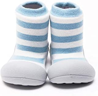 Attipas Herb Organic Baby Walker Shoes, Blue Border, Large