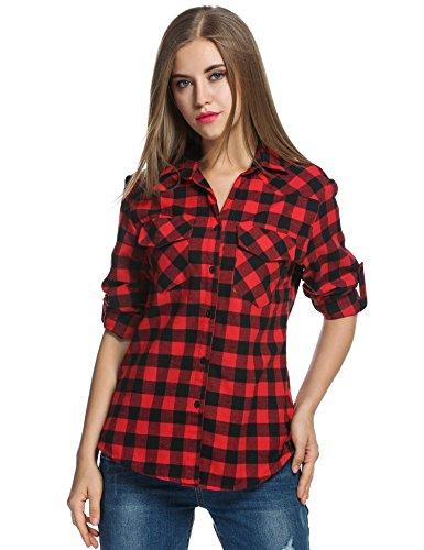 Unibelle Kariertes Hemd Damen Langarm Karohemd Bluse Damen Baumwolle mit Einstellbare Ärmeln(Rot,S)