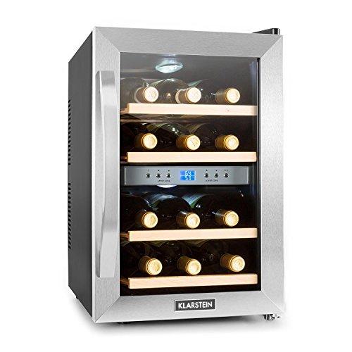 Klarstein Reserva - Frigorifero per vini e bevande, 34 L, 12 bottiglie, 4 ripiani, silenzioso, range di temperature: 07° - 18° C, display LCD, illuminazione interna a LED, nero-argento