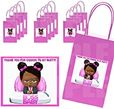 Black Boss Baby GIRL Stickers + Hot Pink Gift Bags, Label Dimensions 3.75