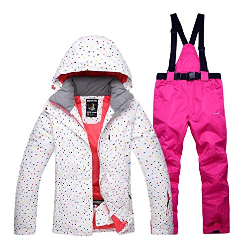 Chaqueta De Esquí Mujer - Traje De Esquí De Impermeable, Cálido Ski Jacket Mujer A Prueba De Viento, Women Snow Jacket Top + Pants, Adecuado para Deportes De Invierno Al Aire Libre (Hooded), S - XXL