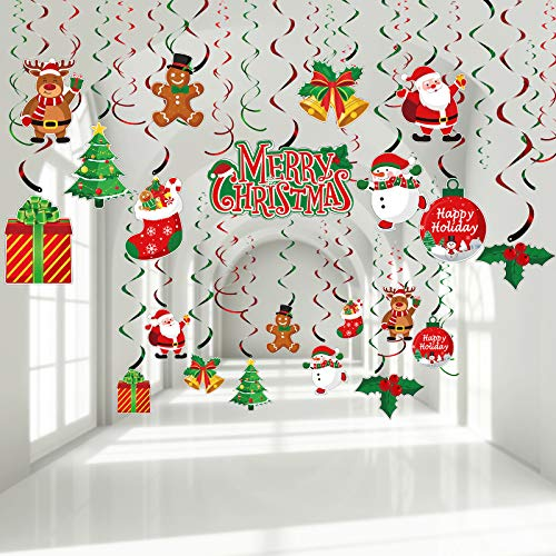 30 Pieces Christmas Hanging Foil Swirl Decorations Set Xmas Holiday Snowman Elk Sign Hanging Swirls Ceiling Decorations for Indoor Outdoor Happy Christmas Holiday Party Decoration Supplies