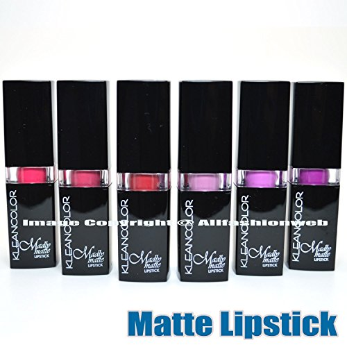 6 KLEANCOLOR MADLY MATTE LIPSTICK SET BOLD VIVID PURPLE PINK RED LIP STICK + FREE EARRING by Kleancolor