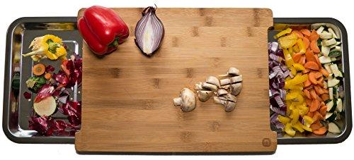 Naturlik Planche à découper en bois (bambou) de haute qualité avec deux bacs coulissants en acier inoxydable   Aide pratique pour la cuisine : déchets à gauche - aliments à droite