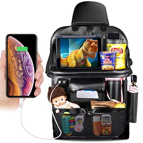 DRIVIM Car Backseat Organizer, Multifunctional Premium PU Leather Travel Car Organizer for Kids with Foldable Tray, iPad Phone Umbrella Bag, Tissue Box, 3 Mesh Bags, 1 Large Bag 4-USB Port (Black)