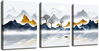 Canvas Wall Art for Bedroom Decor Canvas Prints Abstract Painting Geometry Mountain Scenery Poster Wall Decor Above Bed - 3 Panels Framed Artworks Pictures for Living Room Home Bathroom Decorations