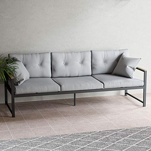 EdenbrookCliffsideMetalPatio Furniture - Mix and Match Modern Outdoor Furniture Pieces,Metal Sofa with Cushions
