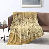 Ucaptain Skyrim Worn Parchment Map Multifunctional Blankets Air Conditioning Blanket Flannel Plush Throw Decorative Soft Cover All Season Lightweight Bed Blanket