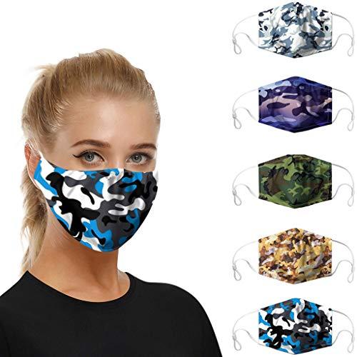 5 Stück Mundschutz waschbar mit Motiv, mundschutz mit Camouflage atmungsaktive mundbedeckung Stoff Anti Staub mundschutz Wiederverwendbare
