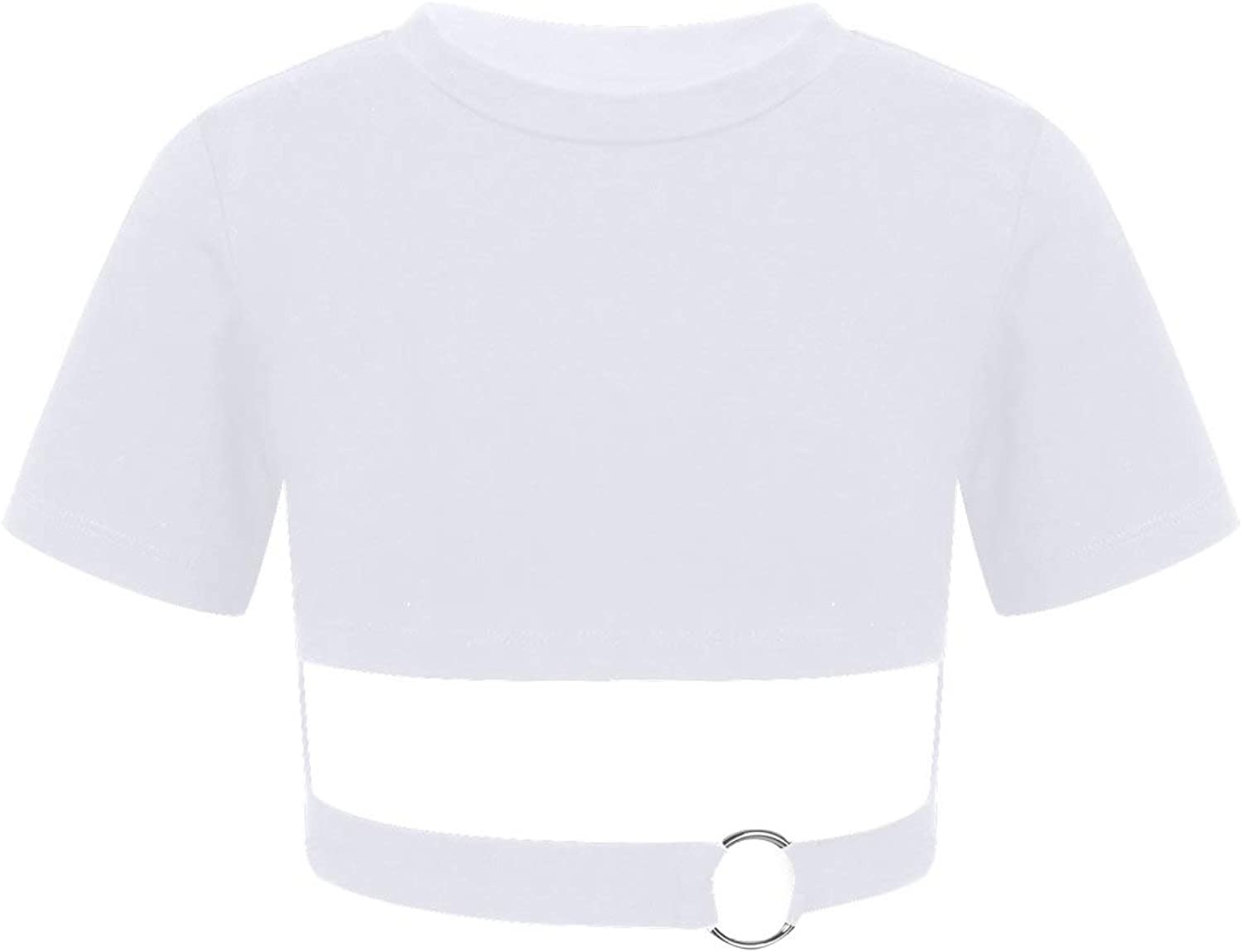 Yeahdor Kids Girls Short Sleeve Crop Tops Athletic Cotton Tops Hollow Out Dance Yoga Exercise T-Shirts Activewear