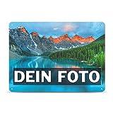 Tassendruck Blech-Schild mit Foto und Text selbst