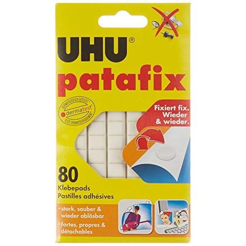 UHU 1648810 - Quadratini in pasta adesiva Patafix, 80 pezzi, colore: bianco