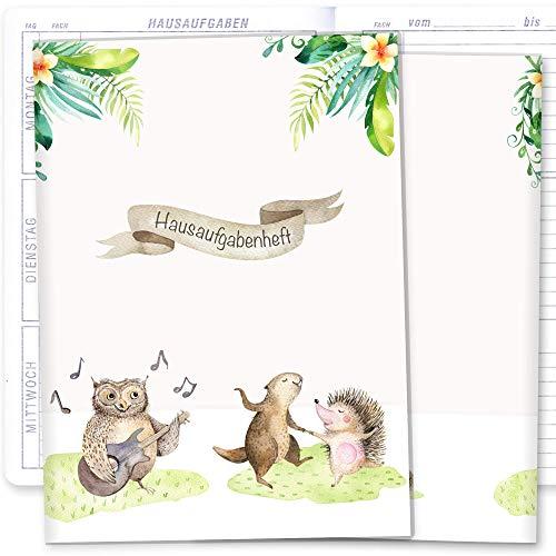 Hausaufgabenheft Hülle Tierfreunde + Heft Schulheft Schutzhülle Umschlag schöne Geschenkidee (Hausaufgabenheft ohne Personalisierung, Musik)