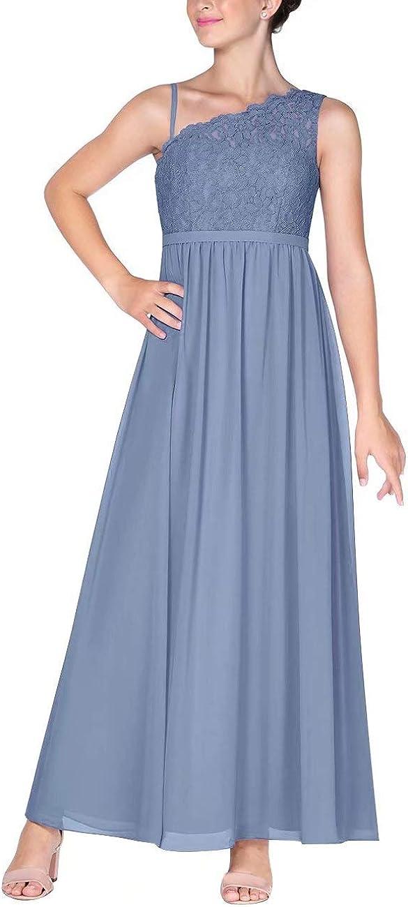 Lilibridal-Girls' Lace Chiffon A-Line Junior Bridesmaid Dresses One Shoulder Formal Party Dress
