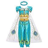 OBEEII Niña Disfraz Jazmin Jasmine Princesa Aladdín Disfraces con Capa Carnaval Traje de Pantalones Halloween Navidad Fiesta Cosplay Costume para Chicas 12-13 años