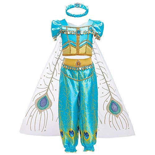 IWEMEK Niña Disfraz de Princesa Jasmine Vestido Aladdin árabe Danza Vientre India Tops Pantalones con Capa y Diadema Traje Carnaval Halloween Cosplay Navidad Cumpleaños Fiesta Costume 1-14 Años