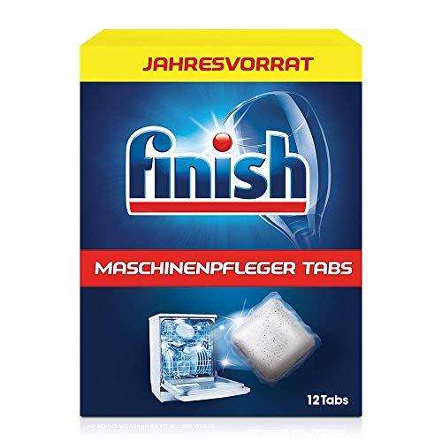 Finish Maschinenpfleger Tabs – Spülmaschinentabs gegen Schmutz & Fett im Inneren der Spülmaschine – Jahresvorrat mit 12 Geschirrspülreiniger Tabs