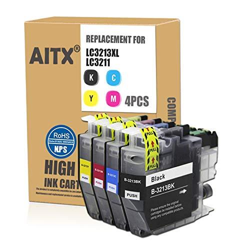AITX LC3213 LC-3213 Cartucho de Tinta de Repuesto para Brother LC3213VAL LC3211 Usar con Brother DCP-J572DW DCP-J774DW DCP-J772DW MFC-J895DW MFC-J497DW MFC-J491DW MFC-J890DW 4 Paquete