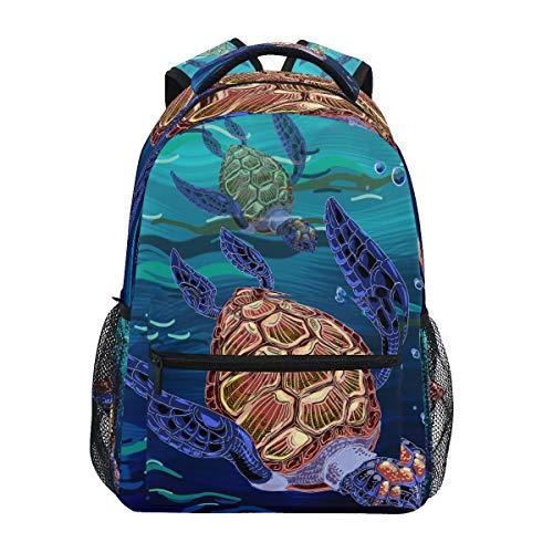 LUCKYEAH Mochila de tortuga de animales marinos, mochila escolar para niños, mochila para viajes, camping, gimnasio, senderismo
