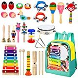 AILUKI 24 Stück Musikinstrumente Musical Instruments Set, Holz Percussion Set Schlagzeug Schlagwerk Rhythm Toys Musik Kinderspielzeug für...