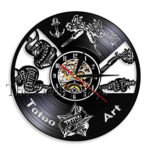 ALKLKJ Reloj de Pared Tattoo Studio Logo Business Sign Vintage Vinyl Record Reloj de Pared Salón de Tatuajes Inauguración Reloj de Pared Decorativo Tattooist Gift