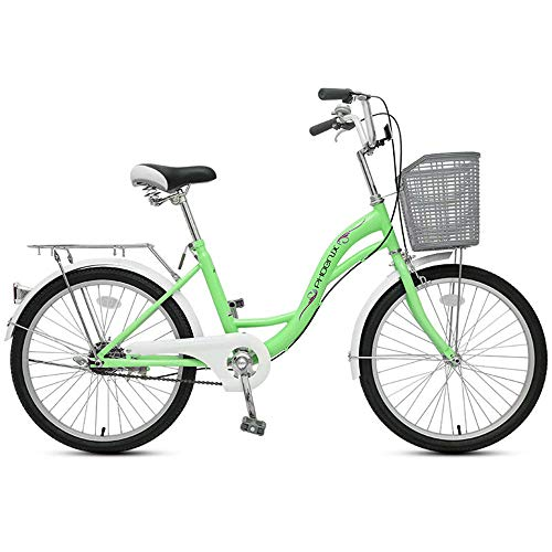 JHKGY - Bicicleta de crucero para estudiantes, cómoda, con cesta y portaequipajes trasero, para bicicleta de una sola velocidad, para hombre y mujer, verde, 22 pulgadas
