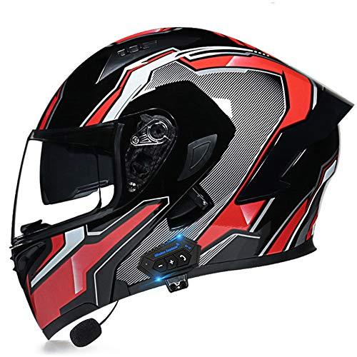Helmets Casco de Moto Modular Bluetooth Integrado con Doble Anti Niebla Visera Cascos de Motocicleta Unisexo para Motocicleta Bicicleta Scooter Cascos de Moto Modulares A,(59~60)