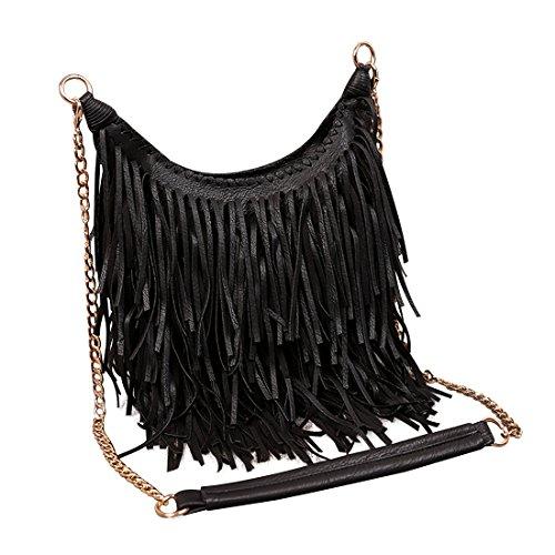LUI SUI Mujer Faux Suede Fringe Tassels Cross-Body Shoulder Bag Bolso de Escuela de Viaje para Mujer Monedero Negro