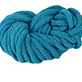 Teal DIY Knit Chunky Chenille Yarn Super Chunky Fat Yarn Hand Knitting Chenille Yarn for Arm Knit Throw Blanket Mat Hat Scarf,250g