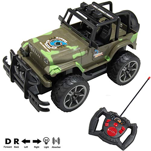 SumacLife Full Function 1/15 Scale Remote Control Army Green Camouflage R/C Truck Toy Car Vehicle with Working Headlights for Adults, Boys, Girls, Kids