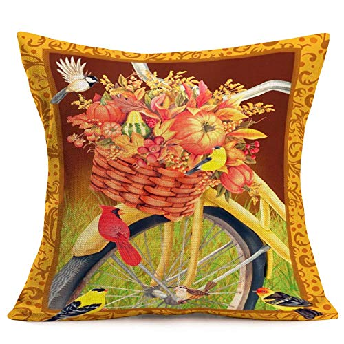 WXM Vintage Throw Pillow Covers Yellow Bicycle with Birds Leaves Flowers Fruit Pumpkin in The Basket Pattern Decorative Square Accent Pillow Cases, 18 X 18 Inches