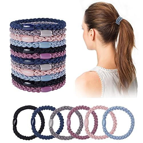 18 Stück Baumwolle Haargummis Mehrfarbiger Geflochtene Haarbänder Elastische Haargummis Stoffhaargummis Zopfgummi für Damen